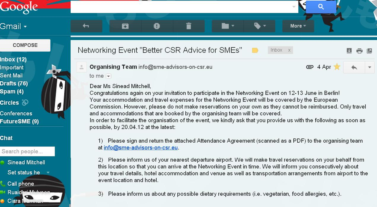 Invite to better csr advice to smes the sustainable sme image scrren print of email invitation to the event better csr advice for smes stopboris Image collections