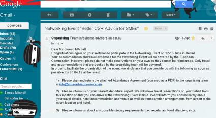 "Image-scrren print of Email invitation to the event ""Better CSR Advice for SMEs"""
