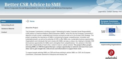 "Image of Website ""Better CSR Advice to SMEs"""
